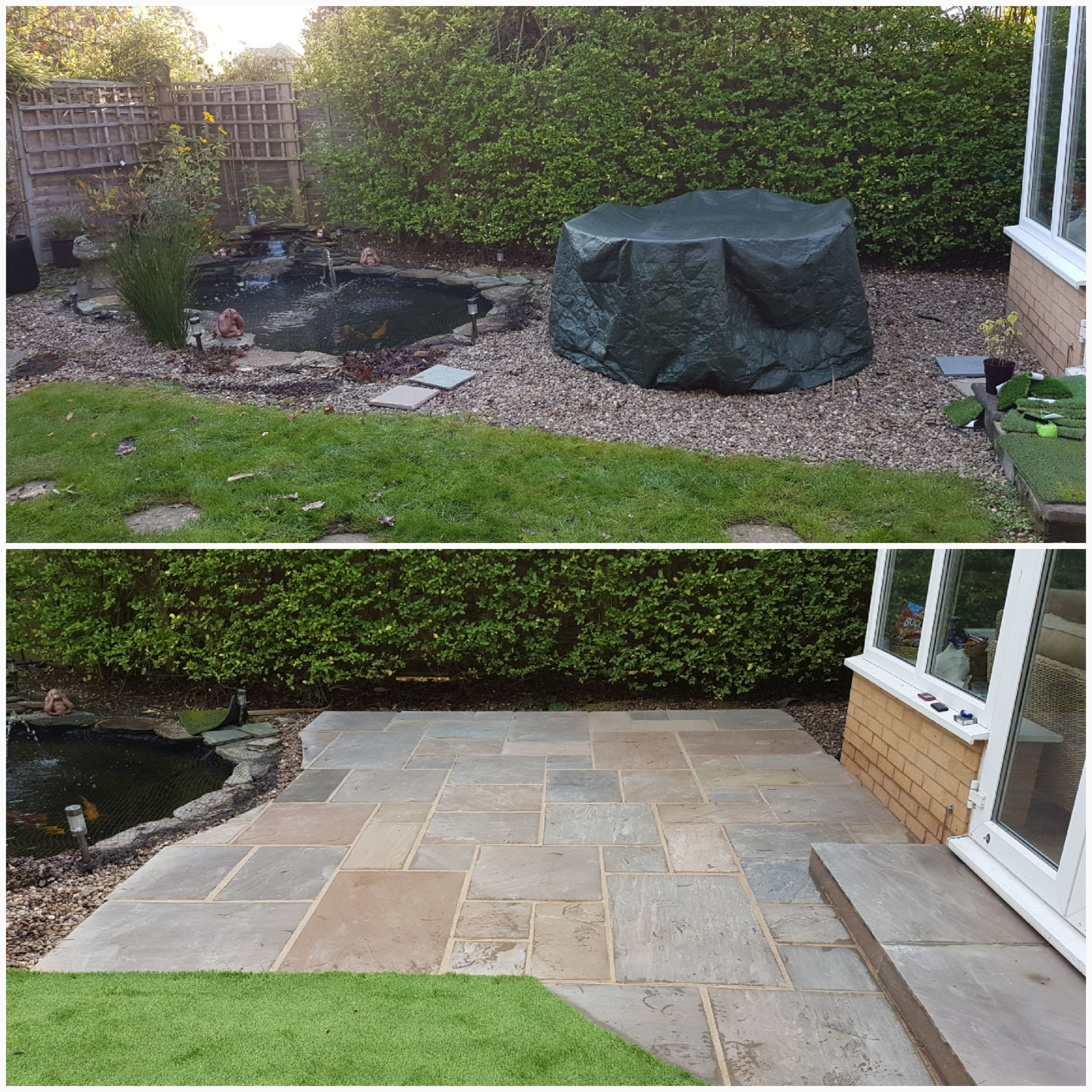 Autum brown sandstone patio and step