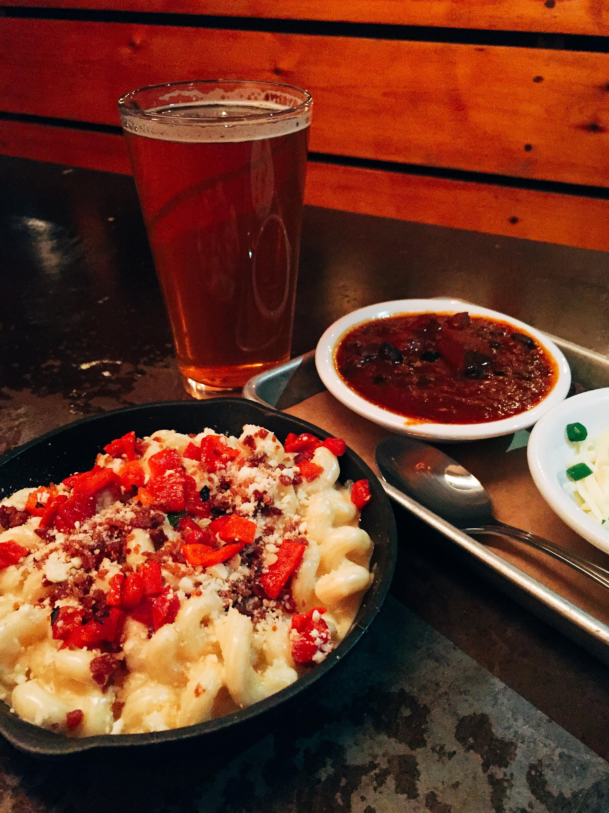 Bacon and smoked feta mac and cheese skillet and their award winning chili