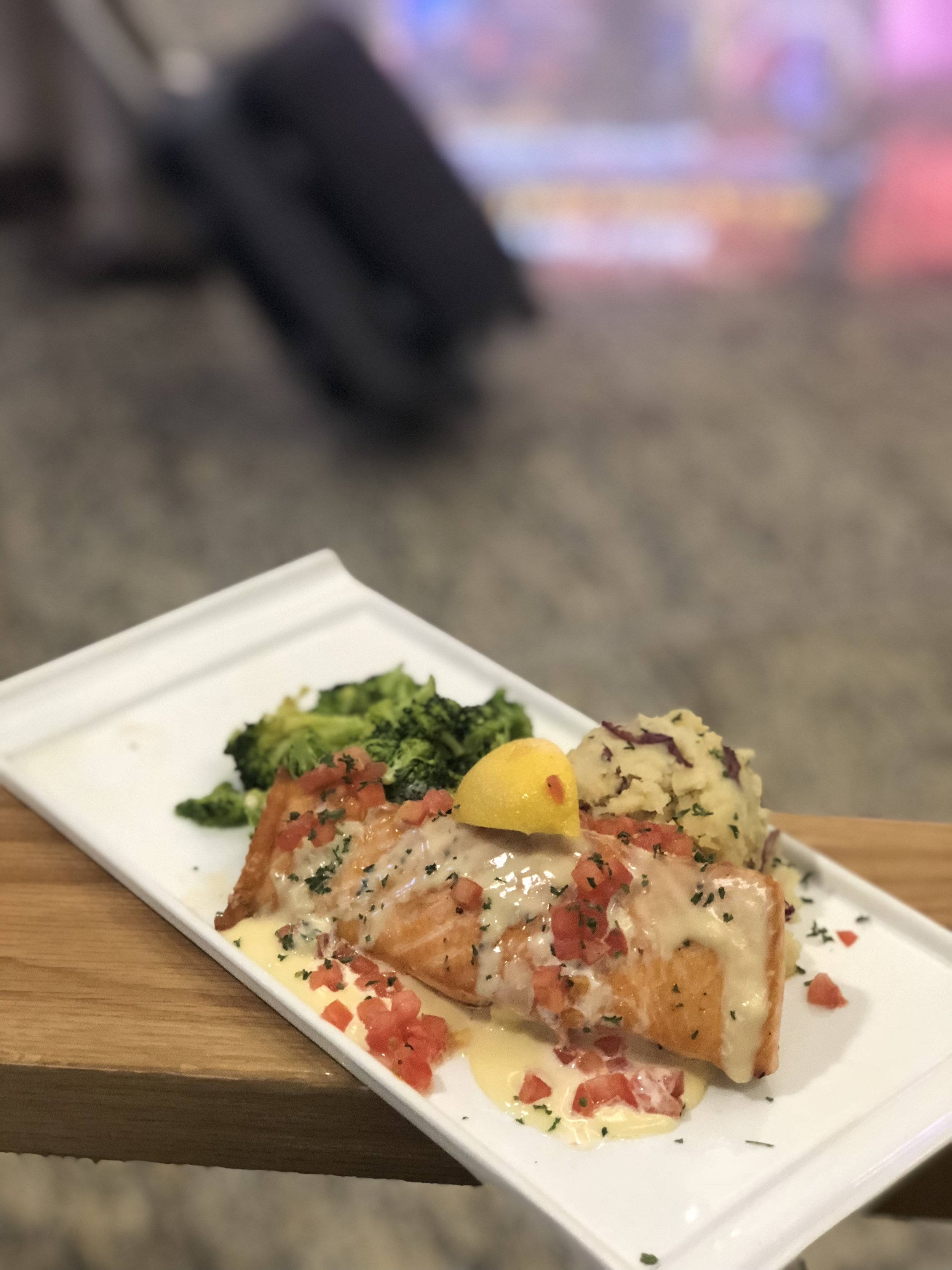 Delicious grilled salmon from Jekyll Island Seafood