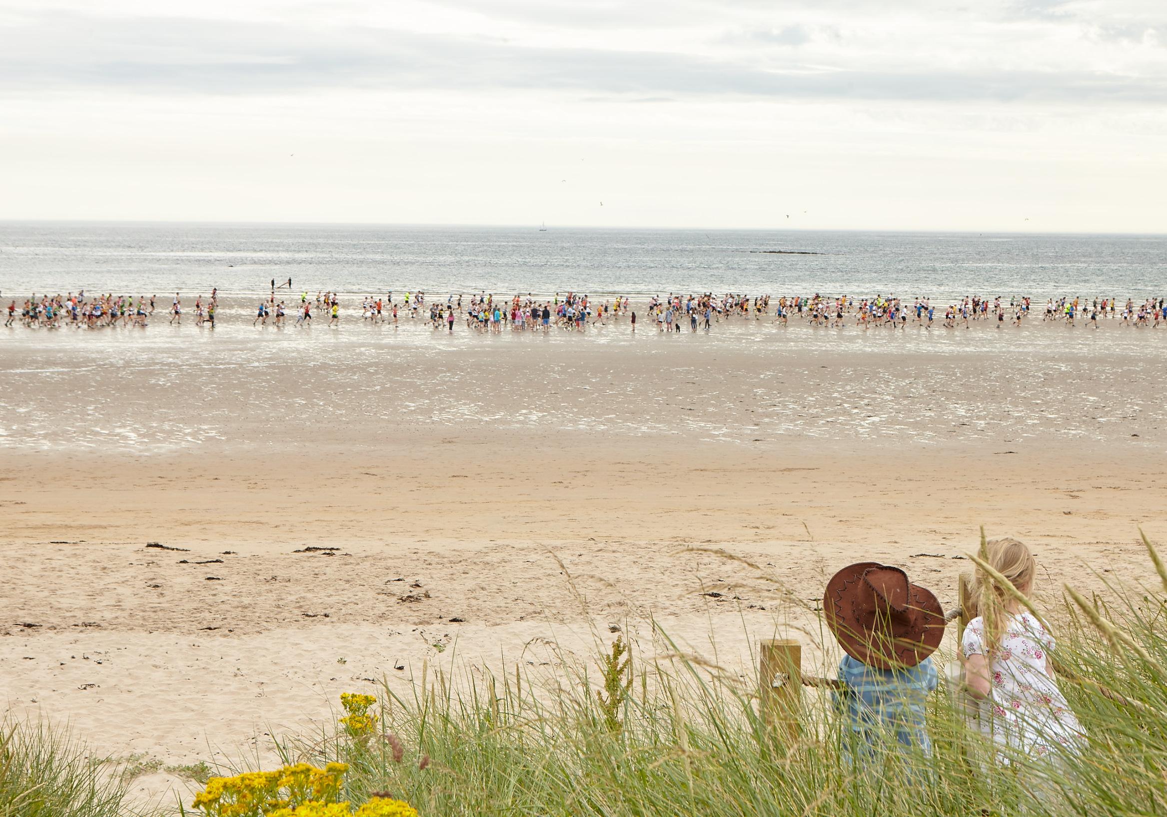Witness one of many beach runs