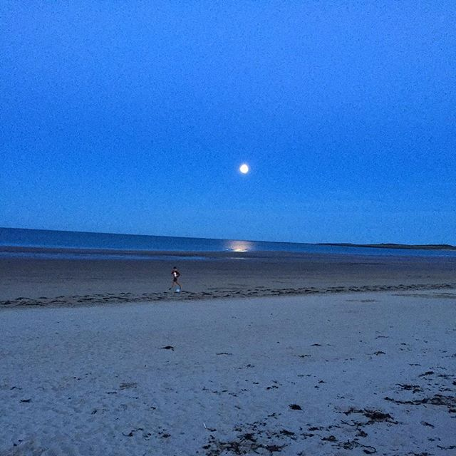 11pm last night on the beach at Beadnell. Full moon lit up the place #thebayistheway