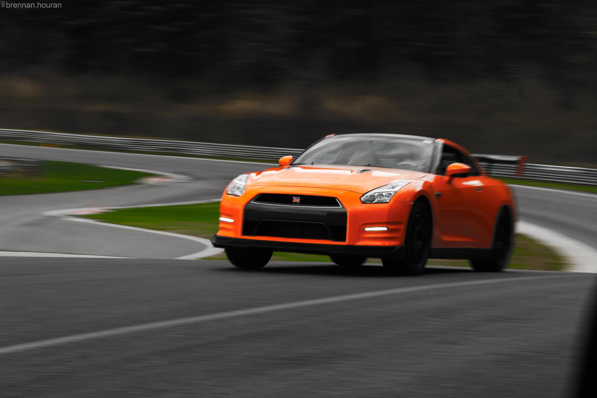 "Above:    An R35 Nissan GT-R ""Godzilla"" roars up the ""Uphill."""
