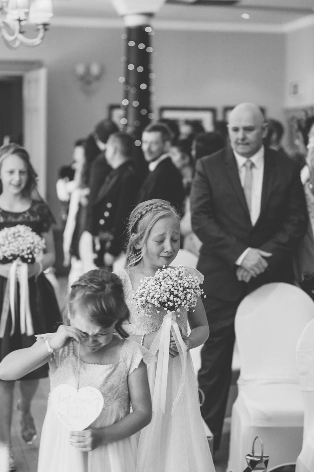 Glasgow wedding photographer, aberdeen wedding photographer, pittodrie house, pittodrie house hotel, pittodrie house hotel wedding, flower girls, wedding ceremony in aberdeen, crying bridesmaids