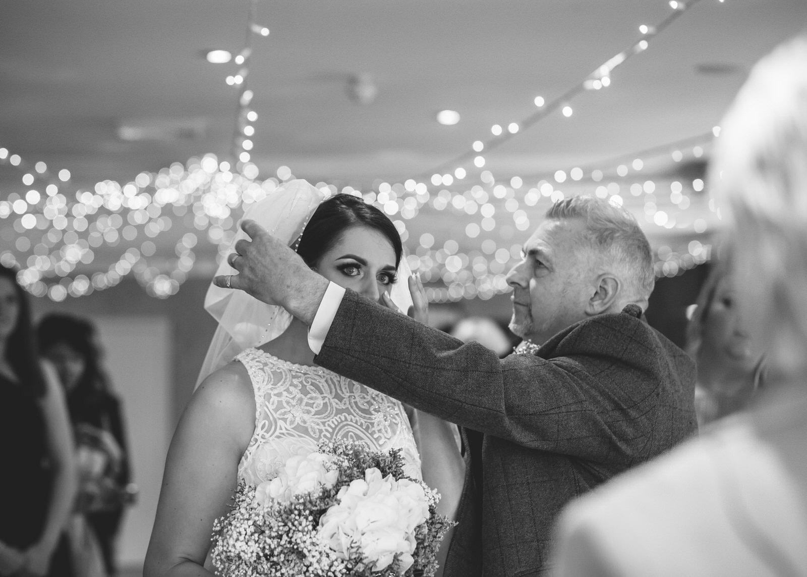 aberdeen wedding photographer, Banchory lodge wedding photography, weddings at Banchory lodge, Banchory lodge hotel, Vivienne Elizabeth Photography, wedding ceremony, crying bride, bride arriving at wedding