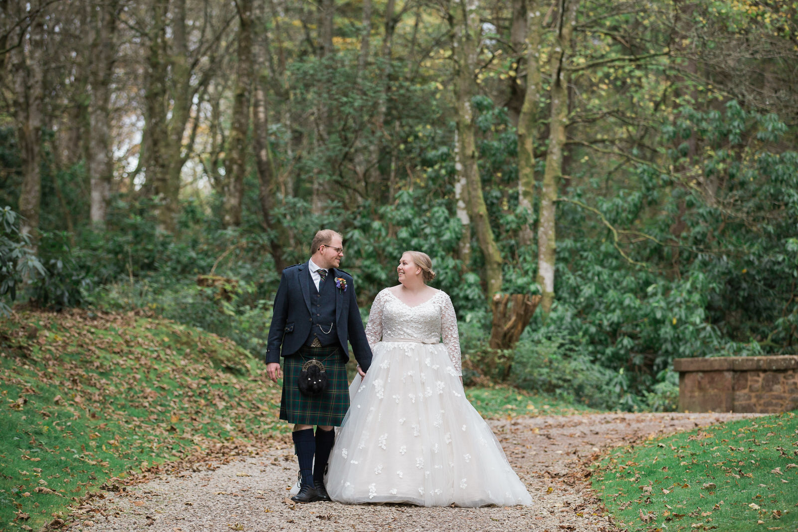 bride and groom fasque castle