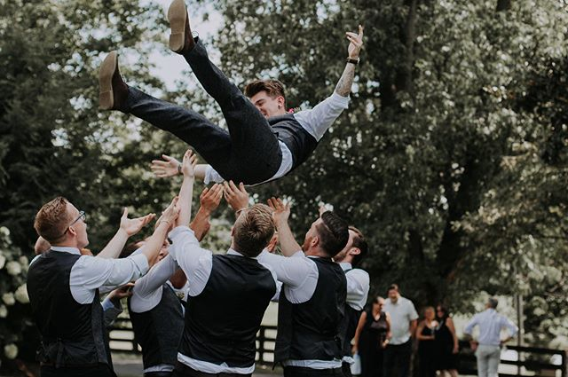 Hooray it's Wednesday! Honestly, the trust Thomas had in his groomsmen for this was astounding. Not only did they toss him, I mean like they really tossed him- it was also like 100 degrees. That's true brotherhood to get that close and move that much in that heat. . . . . #jessicalaurenmedia #ohiophotographer #kentuckyphotographer #warrenwoodmanor #havefun #laugh #groomsmen #wedding #groom #ky #kyphotographer #thegoodtherealthebeautiful #rookeandrovercrew #photooftheday #picoftheday #throwback #summer