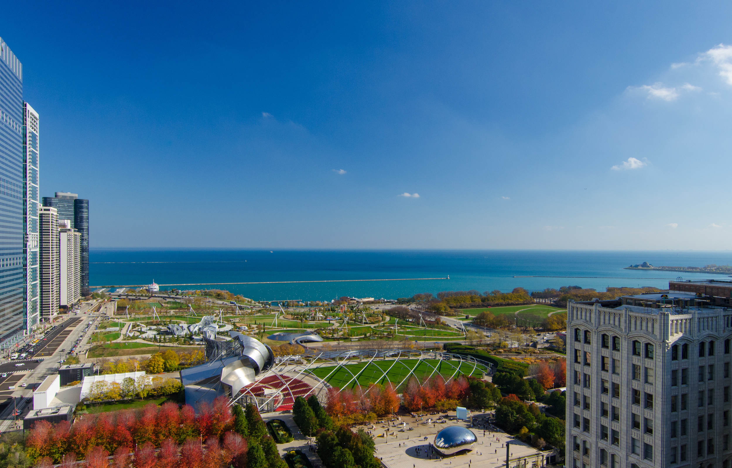 Millennium Park and Lake Michigan