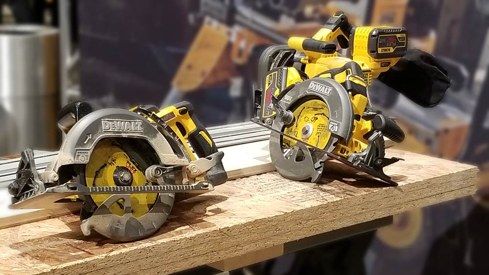 "left: 20V MAX* XR® 7-1/4"" Circular Saw (DCS570), right: 60V MAX* 7-1/4"" Framing Saw (DCS577), behind: FLEXVOLT® 60V MAX* 6-1/2"" Track Saw (DCS520)"
