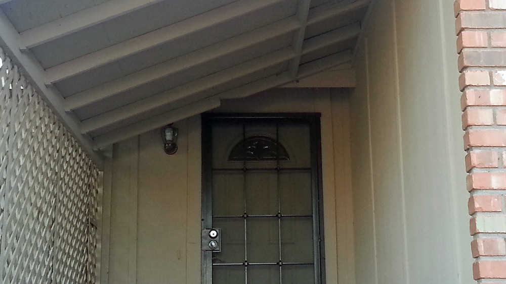 The front door. Someone actually did this to their own home,... on purpose!