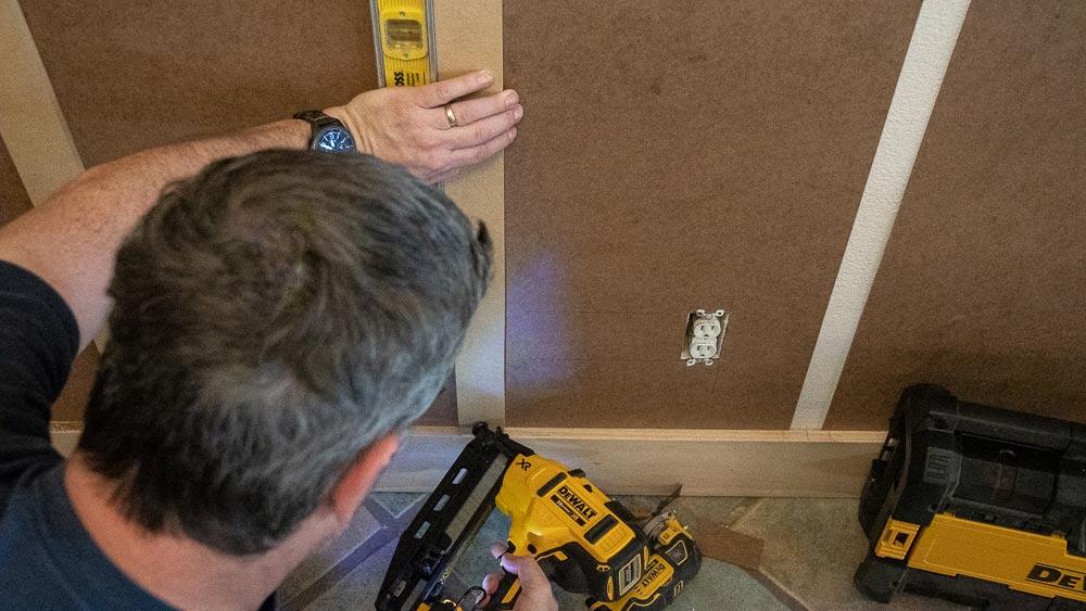 Angled nailing to grab the drywall behind
