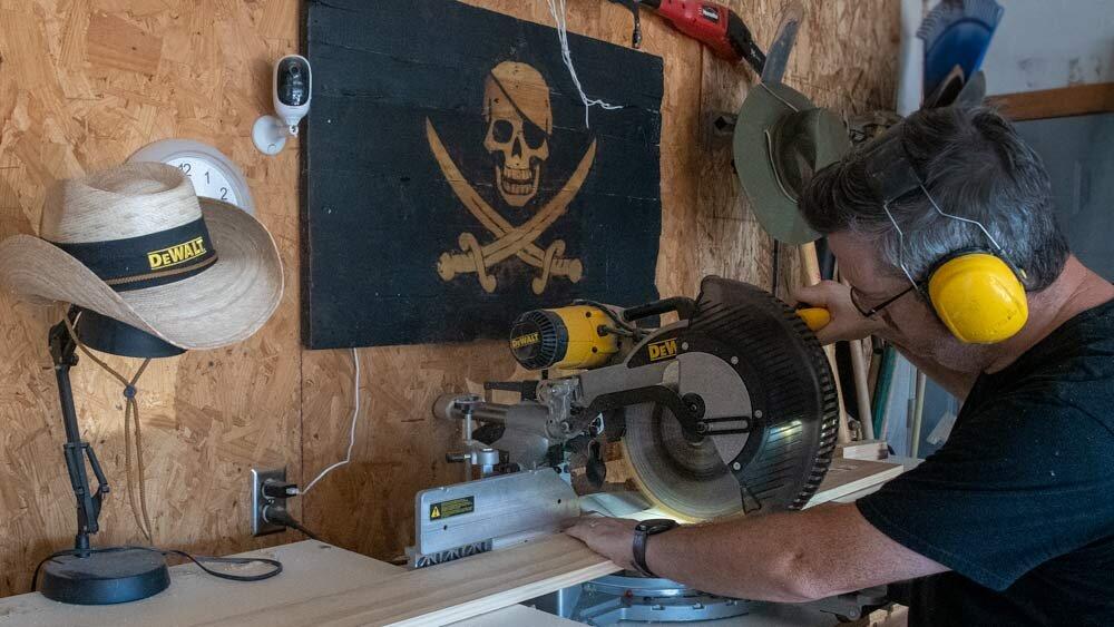 Sliding compound pirate miter saw.