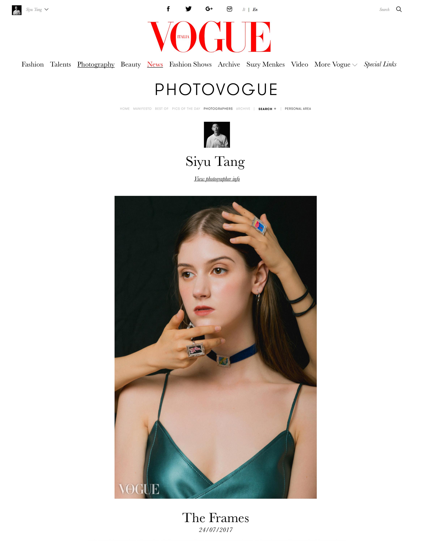 【VOGUE Italia Photovogue】The Frames