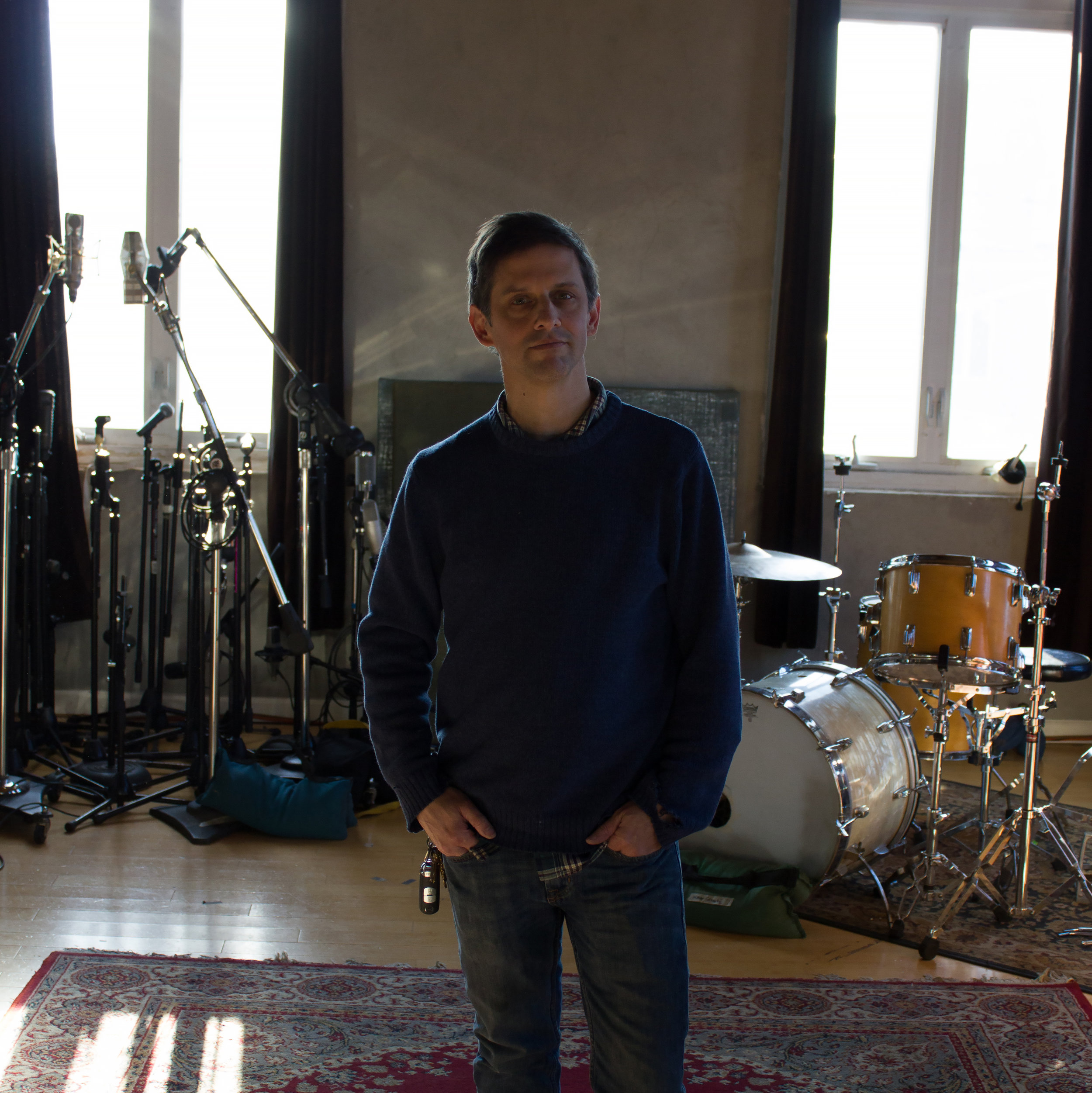 Brian McTear recording Hop Along's Sister Cities, 2014, Photo: Peter English, Courtesy of  Weathervane Music