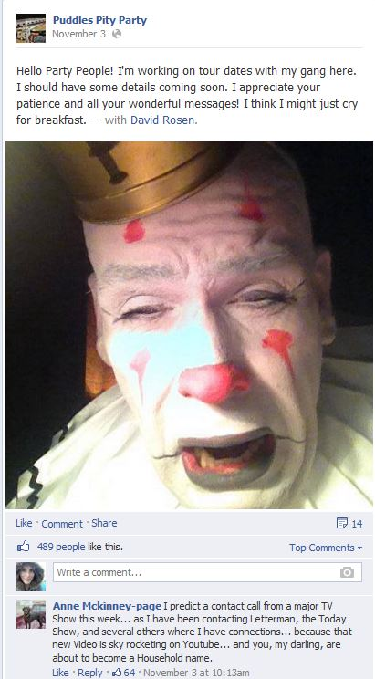 """Puddles the Clown Expressing Gratitude to His Fans after his cover of """"Royals"""" went viral on YouTube."""