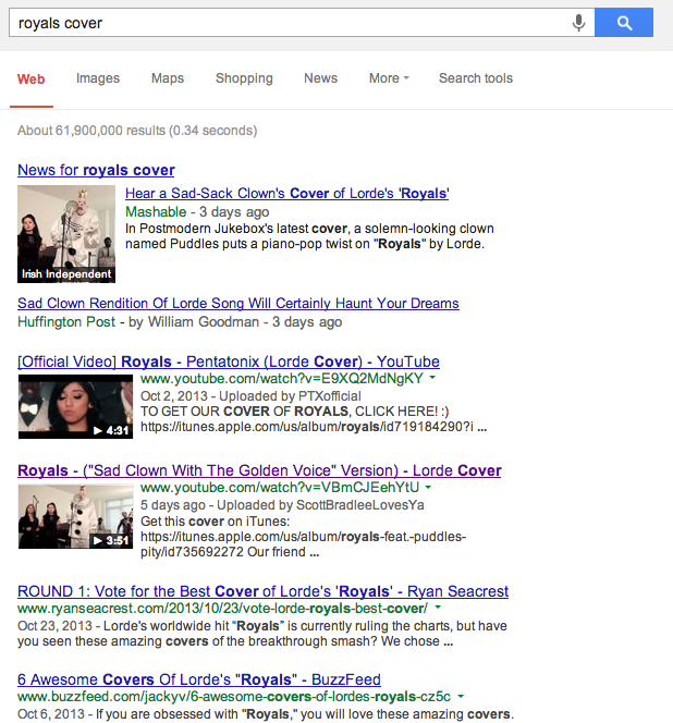 """""""Royals Cover"""" Google Search Results"""