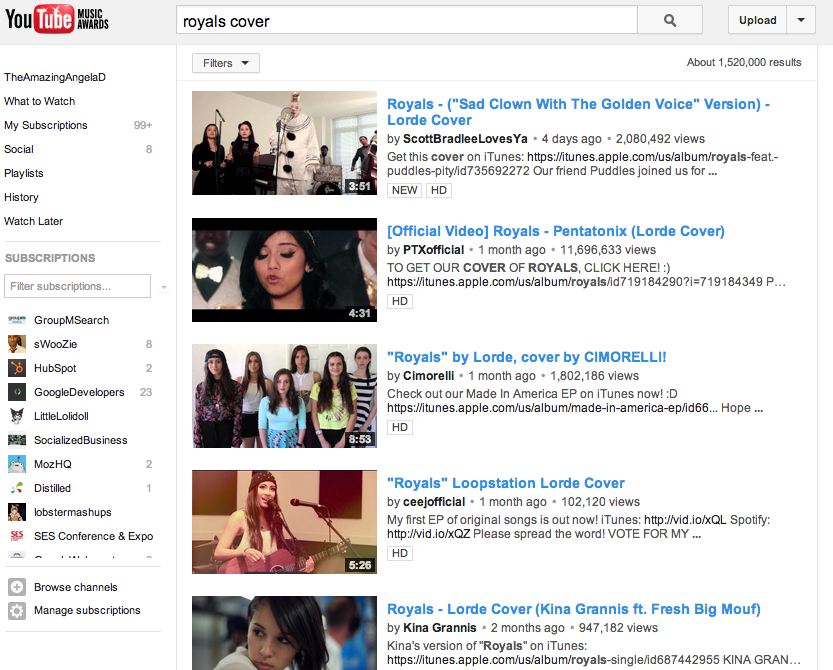 """""""Royals Cover"""" YouTube search results"""