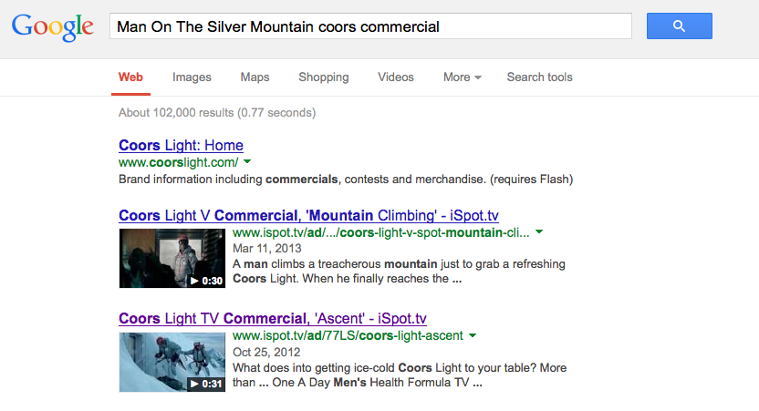 iSpot.TV in top search results for commercials