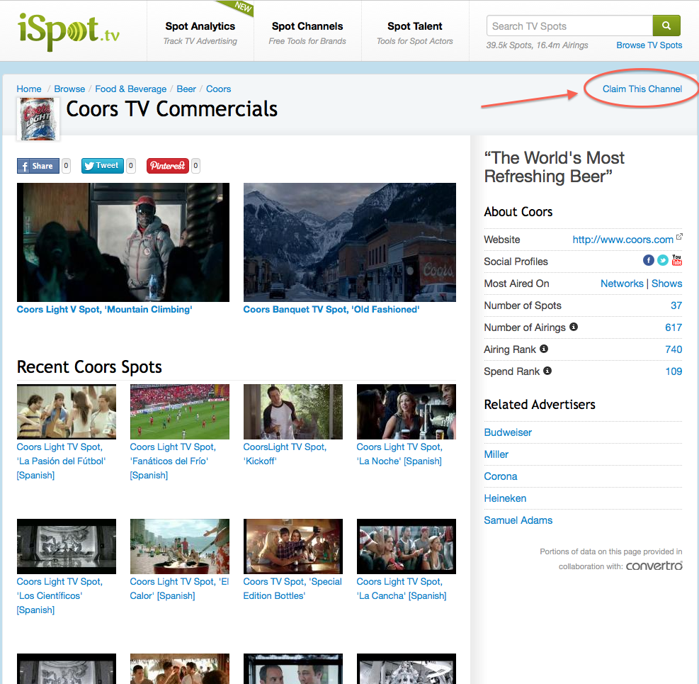 Claim Your Brand's Channel on iSpot.tv