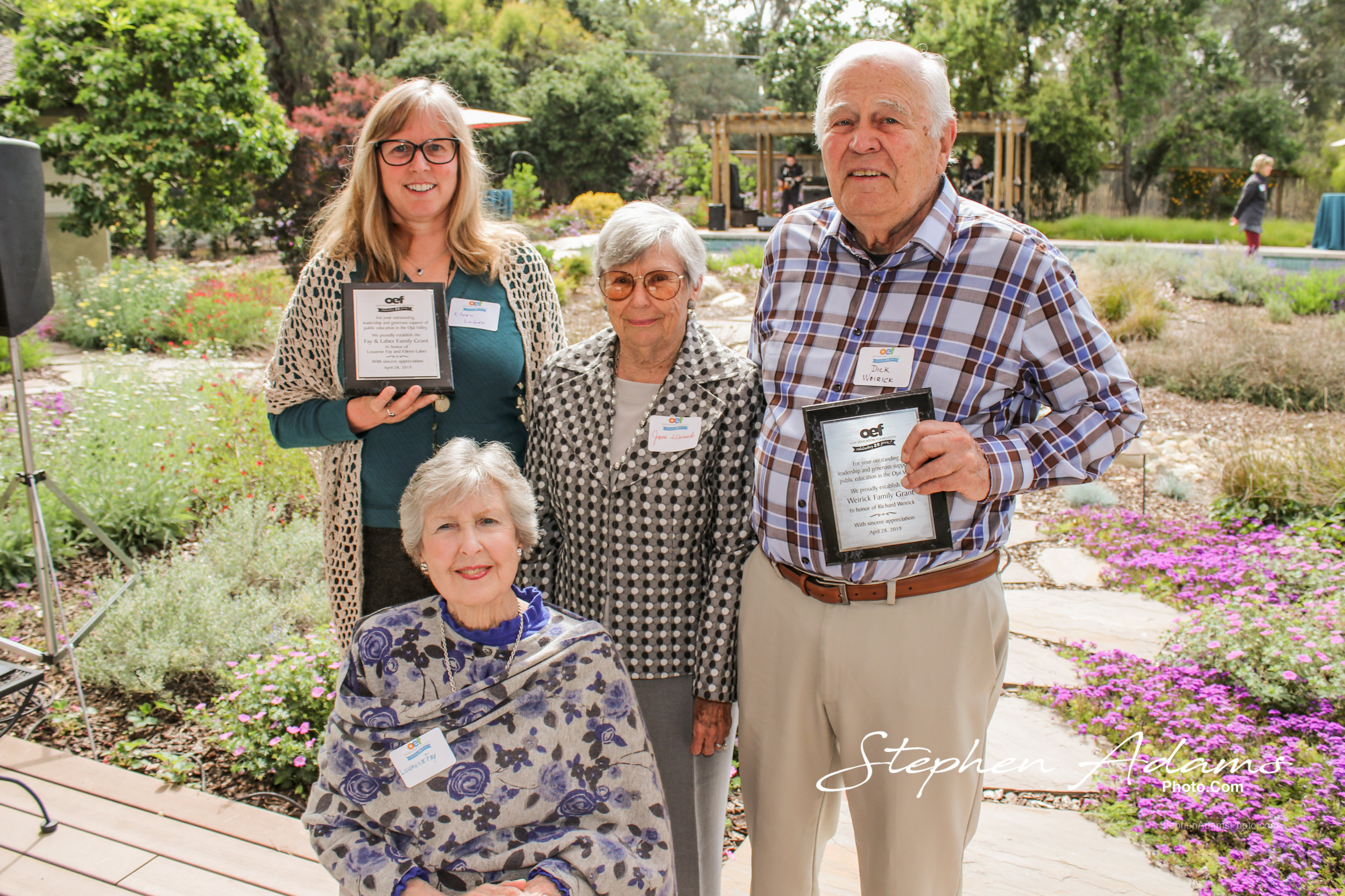 The honorees of the celebration, from left to right, top cumulative donors Eileen Laber and Louanne Fay, Jane Weirick and founding treasurer Dick Weirick. Photo by Stephen Adams.