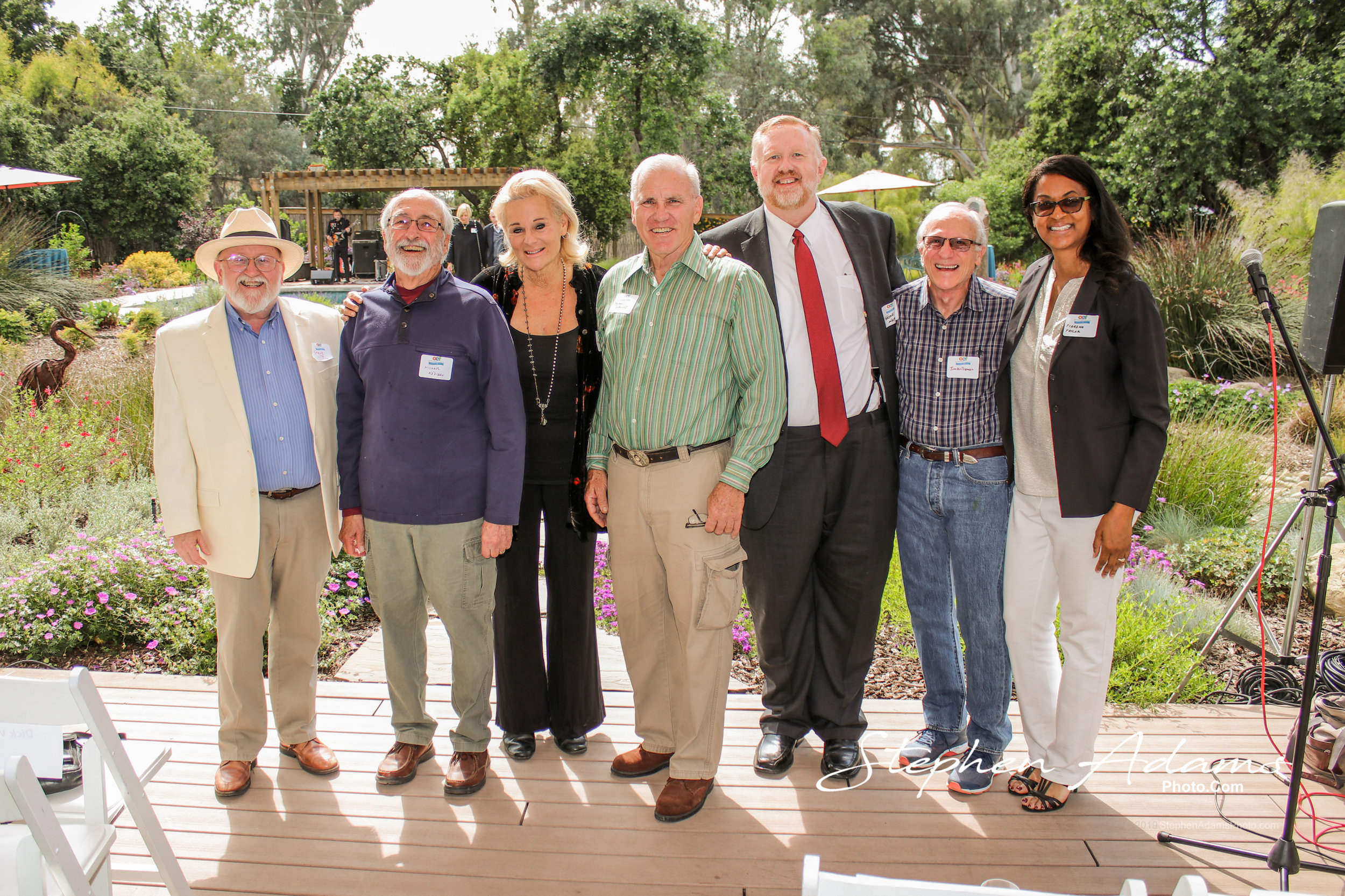 Seven of past and current OEF presidents pose together, from left to right: Steve Jung, (2000 to 2005), Michael Addison (2012 to 2016), Therese Hartmann (2017), Mike Caldwell (2008 to 2009), Thayne Whipple (2006 to 2007 and 2010), Tim Williamson (1998 to 1999) and Tiarzha Taylor (2017 to present). Photo by Stephen Adams.
