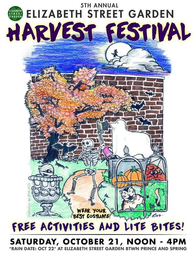2017 Elizabeth Street Garden Harvest Festival Promotional Flyer - Illustration by Jess VosFormatting & Color by Ella Barnes