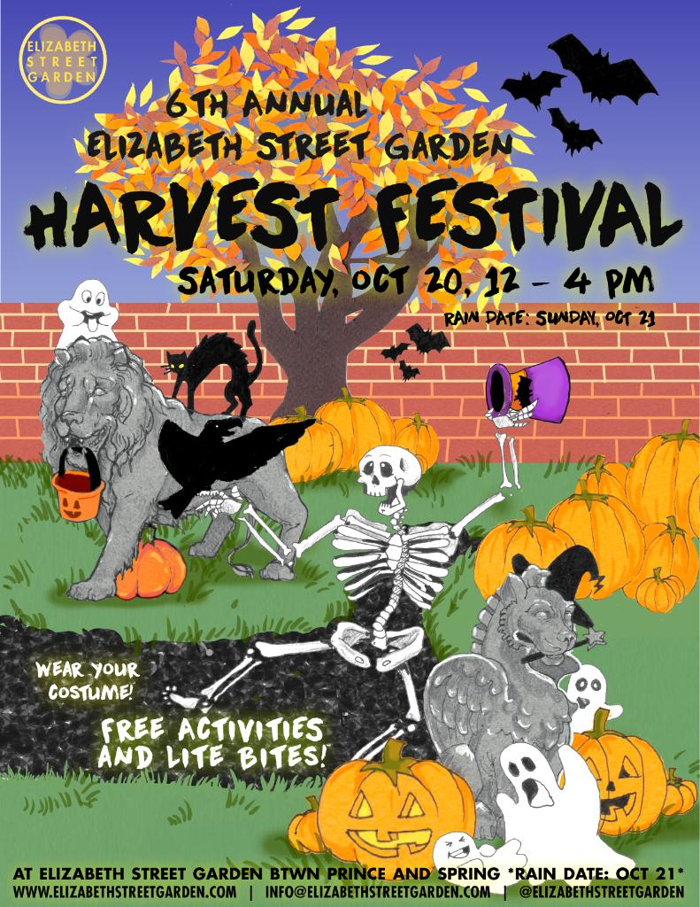 2018 Elizabeth Street Garden Harvest Festival Promotional Flyer - Illustration by Jess VosText Formatting by Ella Barnes