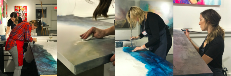 image of large canvas paint with donna workshop