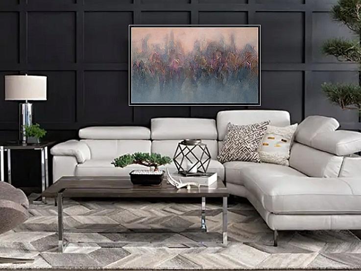 Custom Donna Giraud art in living room