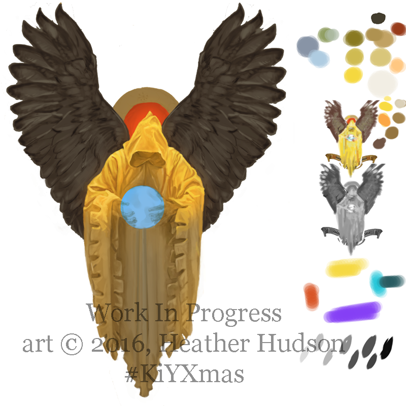 A WIP shot of one of my paintings for the King in Yellow Xmas project, including the side panel of colors and reference roughs.  Because I often work back and forth between Photoshop and Corel Painter, it's handy having my swatches on the image itself.