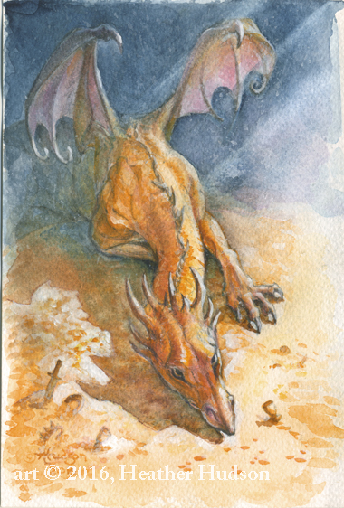 """Chrysophylax Dives,"" a hot dragon and now a small original watercolor painting as well... this scan has been slightly adjusted in Photoshop to match the original."