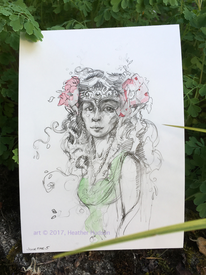 """Initial Rose Faerie sketch on synthetic vellum. """"We are paper"""" indeed!"""