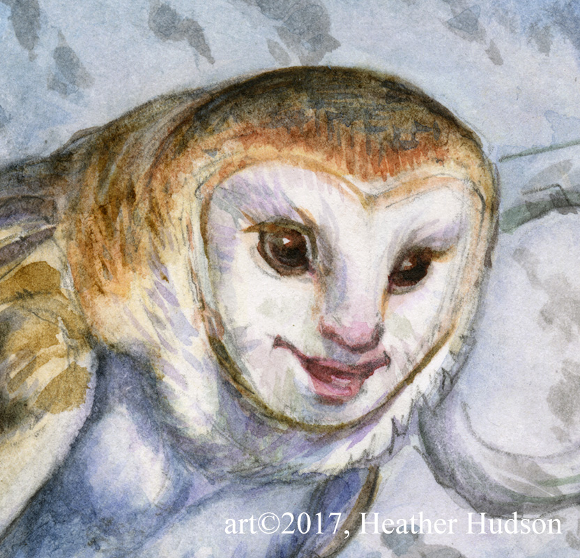 A vastly blown up detail of the Owl Harpy watercolor sketch from June-Fae 2017.  What a little dickens it is!