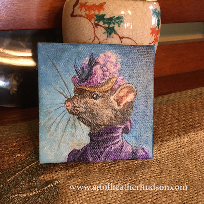 Miss Rat has a weakness for flowery hats and the color purple!