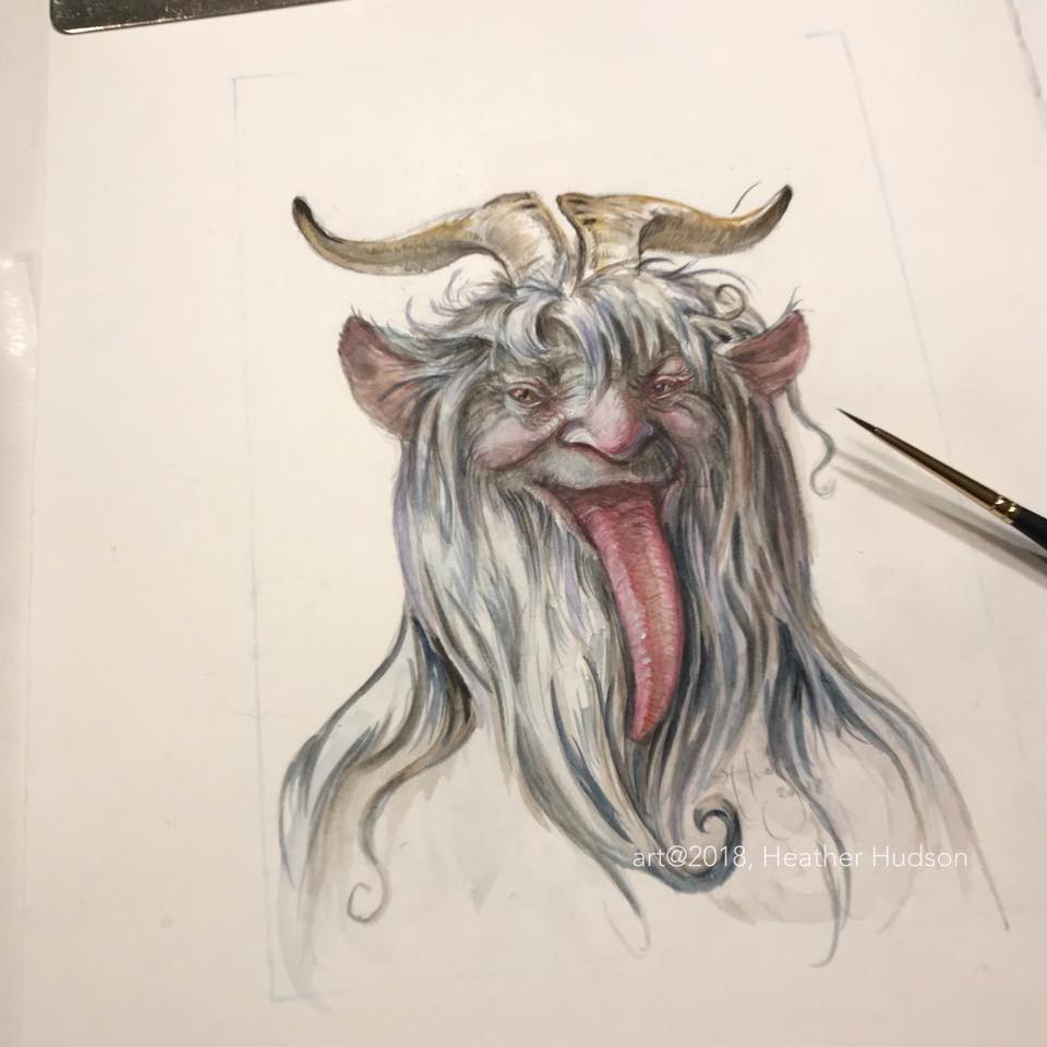 Midway through painting, the Krampus smiles…