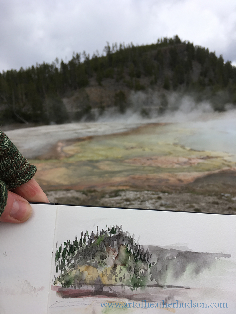 My first quick landscape sketch of the trip, painted at the Grand Prismatic with icy rain and tourists everywhere.  Cold but fun!