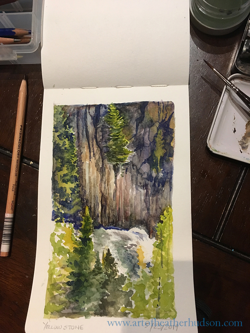 Gibbon Falls - sketch begun onsite and finished from photo reference later that evening, when my friends wanted to get back in the car and keep going.  Part of painting outdoors involves learning to deal with weather challenges, and at Gibbon Falls the wind whistling down the gorge kept trying to toss my pencils and brushes into the canyon below.  Whee!