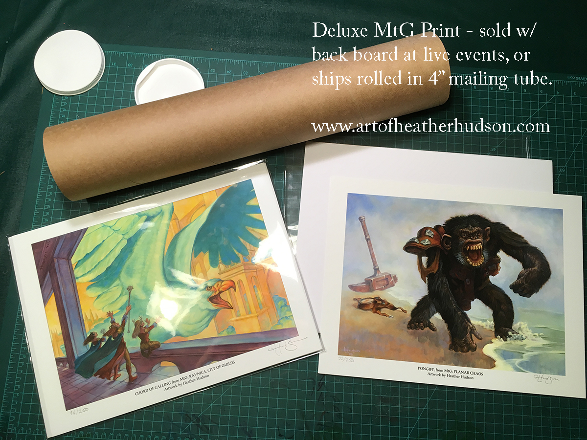 "Deluxe prints are shipped rolled in a sturdy 4"" mailing tube. Shipping via Priority Mail within the continental US adds $10 at this time for a total of $35. The cost of shipping a mailing tube outside the US varies by destination."