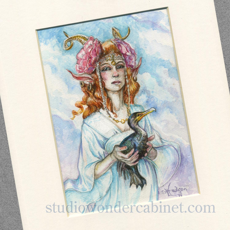 The Cormorant Fae, a recent personal watercolor.