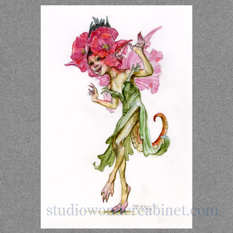 The Poppylizard Fae, a garden fairy in watercolor.