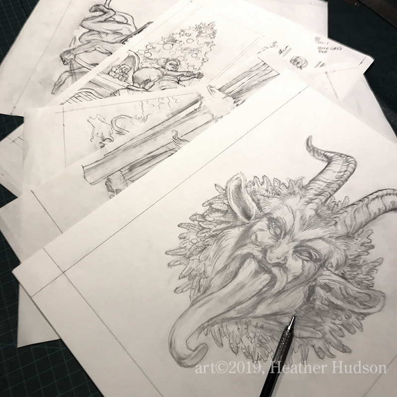 Four to six preliminary pencil sketches, finished…