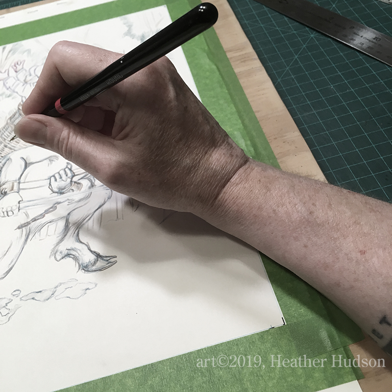 A wise artist puts a piece of smooth packing tape over the edge of the board beneath their drawing hand. Just a tip, there.