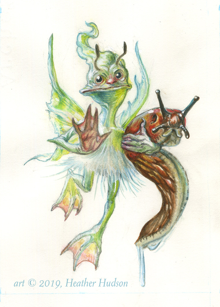 "The Slug-Hiding Fae is an original 5""x7"" sketch in pencil and watercolor on hot-press watercolor paper.*  * not a real slug"