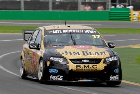 In an innovative promotion of honey, Australian Rainforest Honey sponsored the Dick Johnson Jim Beam Racing Team during the V8 Series at the recent Australian Grand Prix meeting in Melbourne (see inside article) Photo courtesy Brad Harris