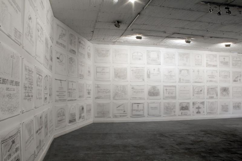 Lo que existe, lo que no existe / Instalación (Calcos en frottage de lápidas del Cementerio Central de Bogotá: lápiz litográfico sobre pergamino) / 2013
