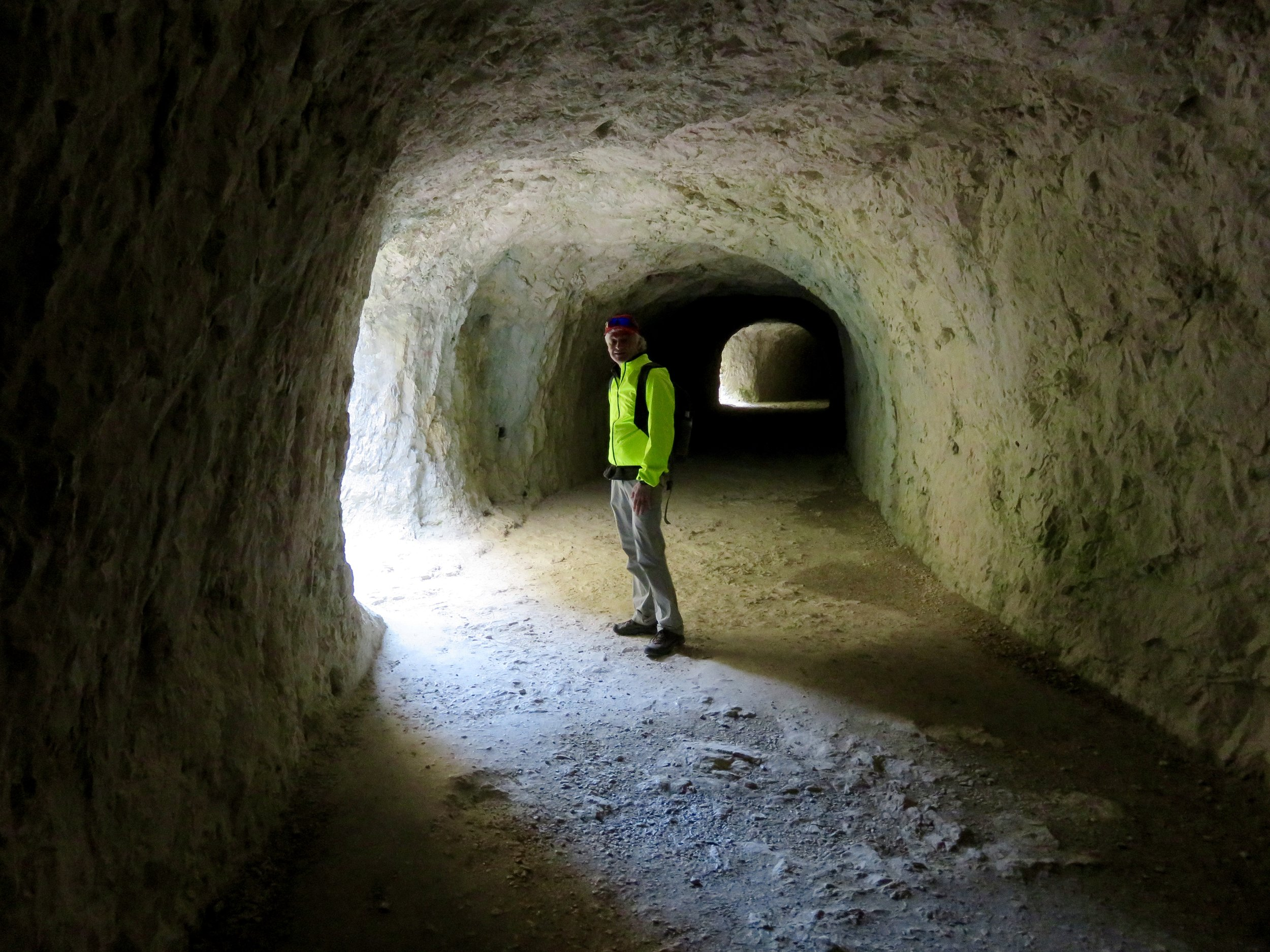 Hiking through tunnels carved in rock!