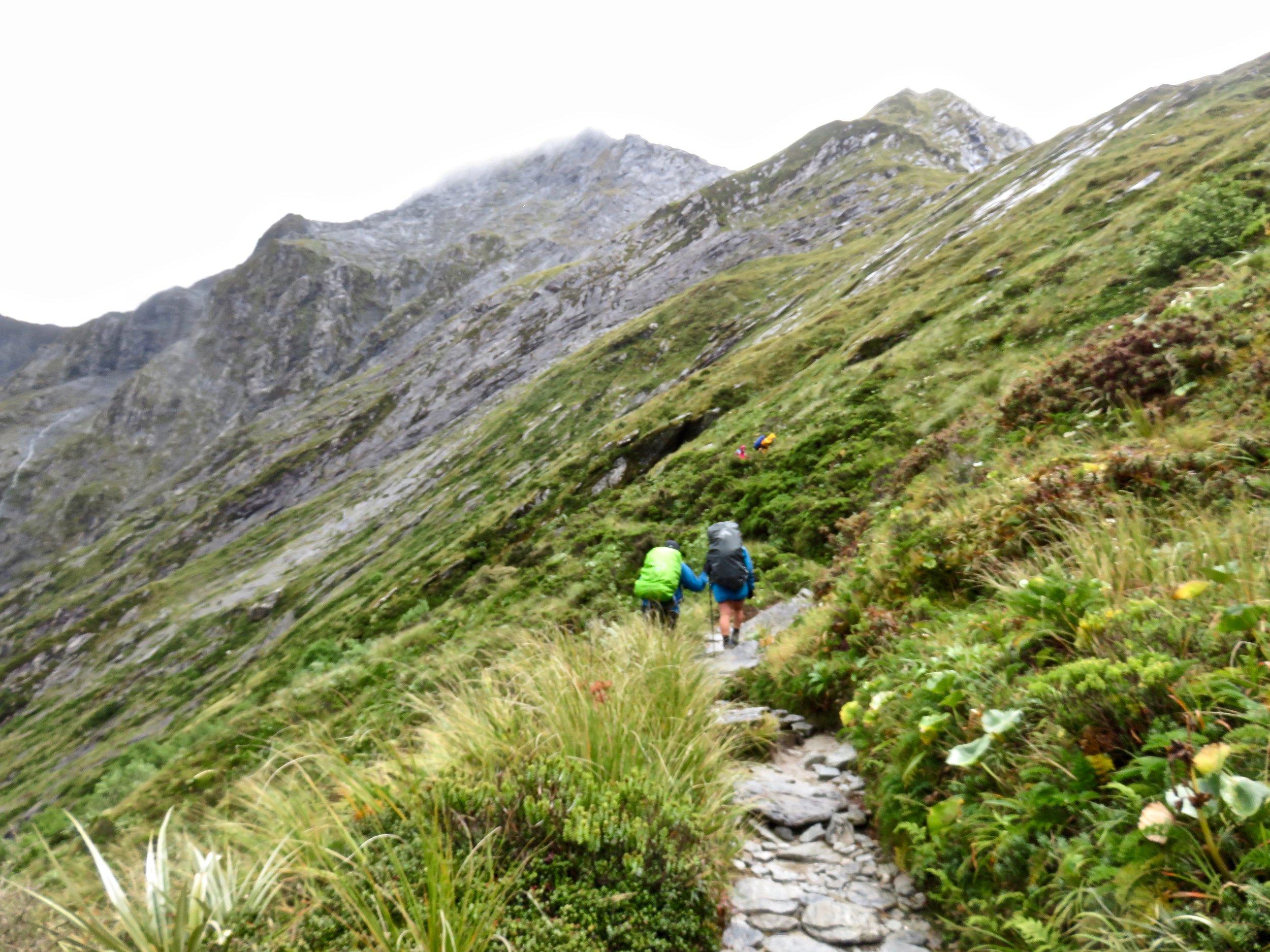 Heading for summit of MacKinnon's Pass