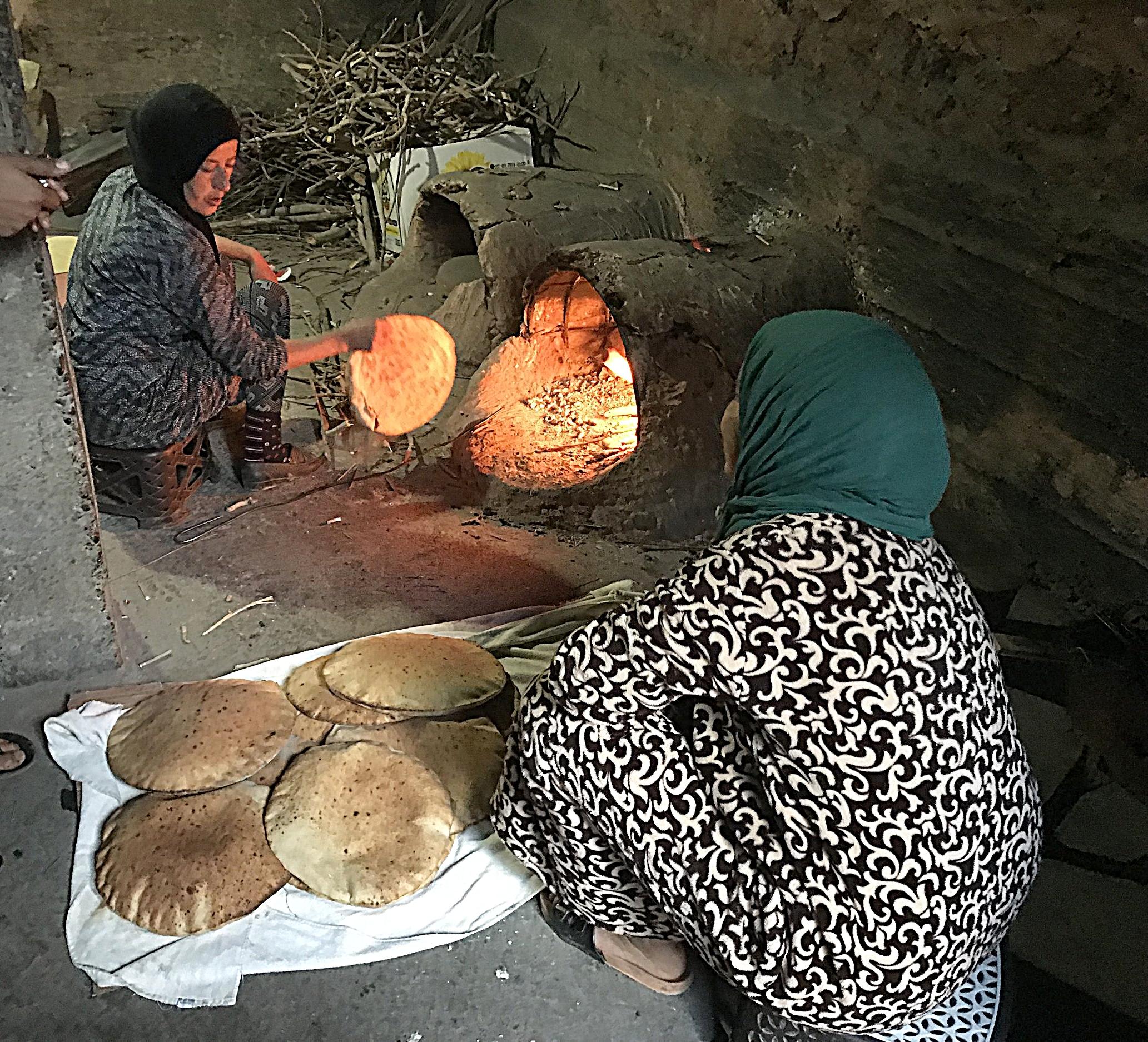 Berber women making bread