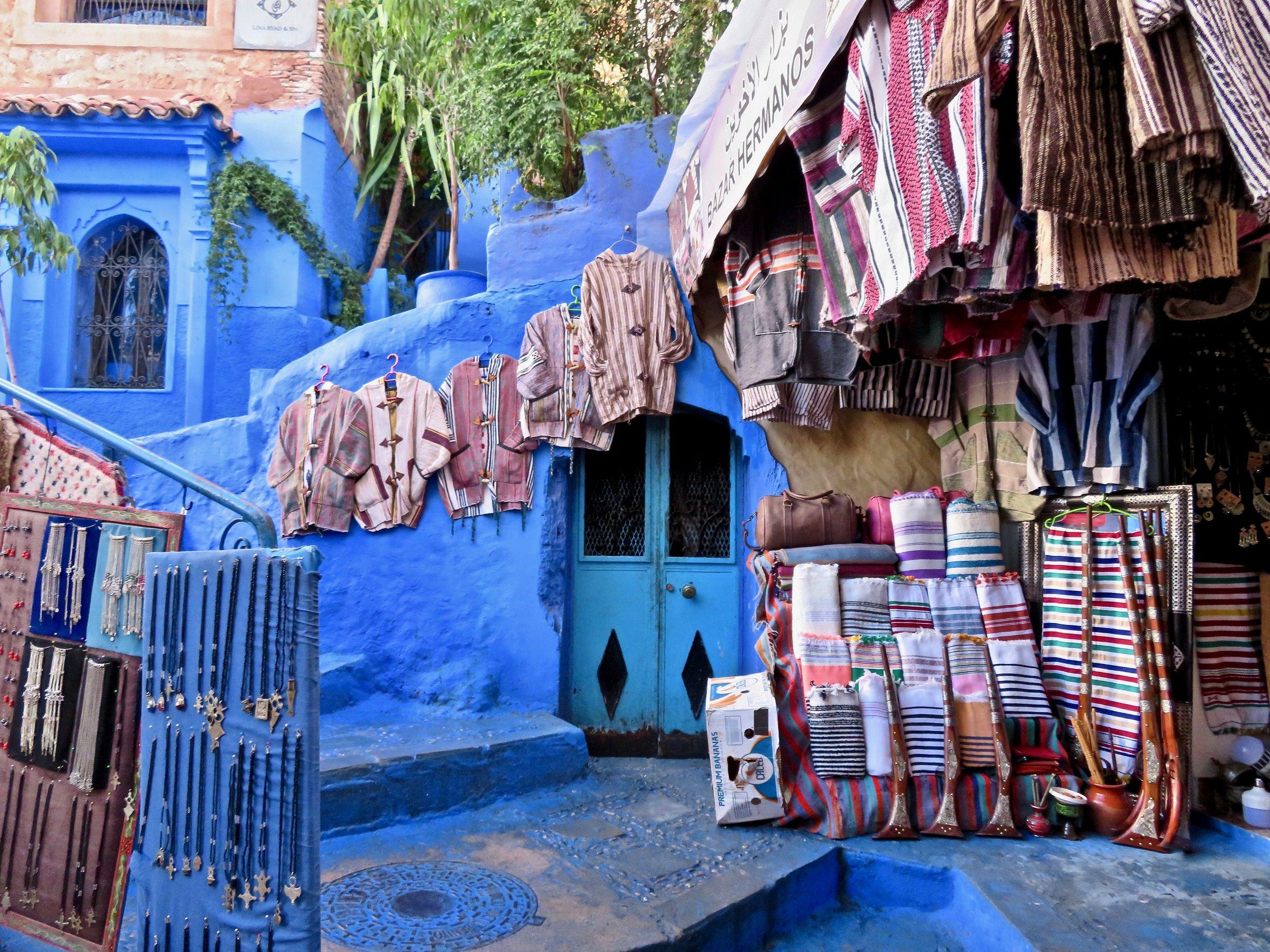 Chefchaoen shops line the blue streets