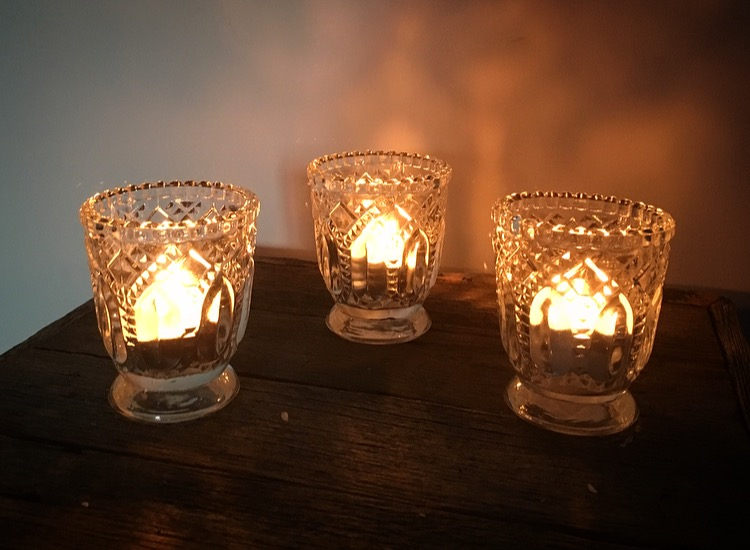 Clear Ornate Votive  $20 for a set of 10