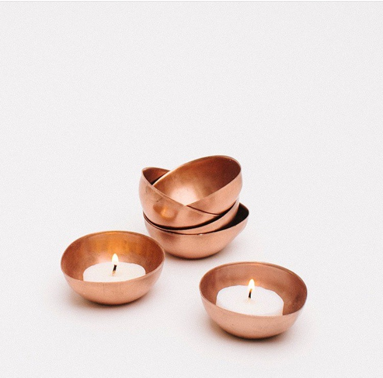 Copper Tealight Dishes  $2.00 each (includes tealight)